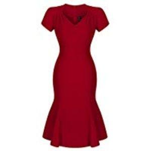 Miusol Women's V Neck Elegant Vintage Dress L
